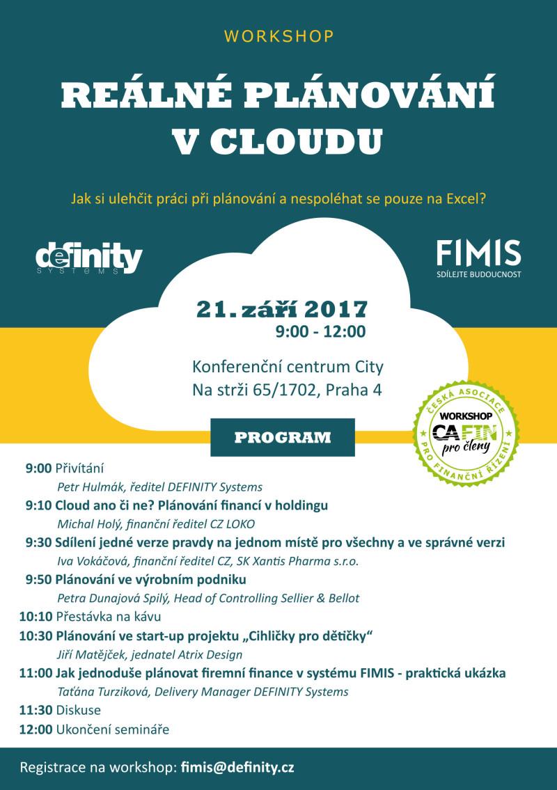Workshop CAFIN 2017 pozvánka Definity